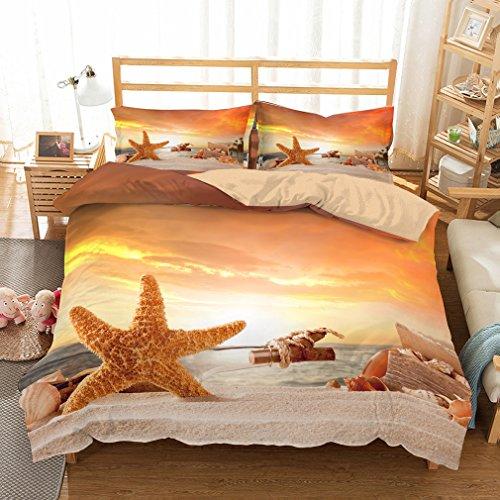 APJJQ Holiday Ocean Beach Bedding Set King Size,Seashell