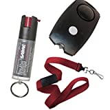 Security Equipment College Safety Bundle: Sabre Key Ring Pepper Spray, Personal Alarm and a 36 Inch Red Breakaway Lanyard - Lot of 3 as Shown