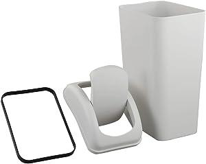Saedy Swing Lid Trash Can, Greyish Plastic, 14 L Capacity