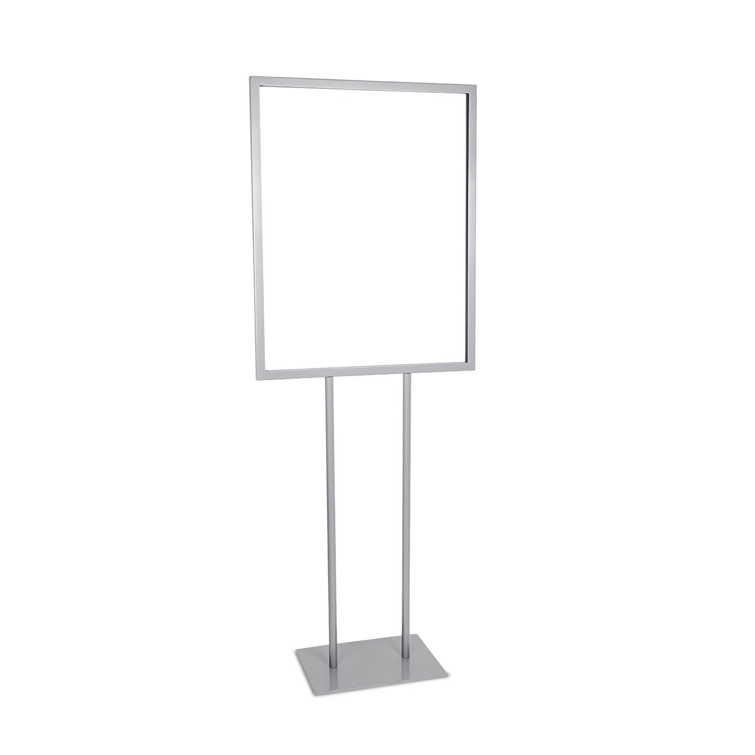 Source One Deluxe 22 x 28, 11 x 17, & 8 1/2 x 11 Inch Floor Standing Sign Holders Multiple Colors Black, White & Gray Heavy Duty Weighted Metal (11 X 17 Inch, Gray)