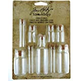 Corked Vials by Tim Holtz Idea-ology, 9 Glass Bottles, Various Sizes, Clear, TH92899
