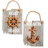 "Cheap Beach Nautical Wall Signs ~ Set of Two Signs ""Beach"" and ""Boat House"" with a Rustic Anchor and Ships Wheel on Driftwood Like Display"