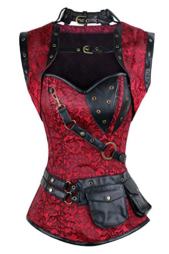 Charmian Women's Steel Boned Retro Goth Brocade Steampunk Bustiers Corset Top with Jacket and Belt Red Medium -