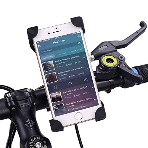 [Upgrade] Bike Phone Mount - IBRA Universal Bicycle & Motorcycle Mount 360 Degrees Rotatable Cradle Clamp Bike Cellphone Cycling Stamp Made for iOS iPhone Samsung Android GPS, Fit Any ()