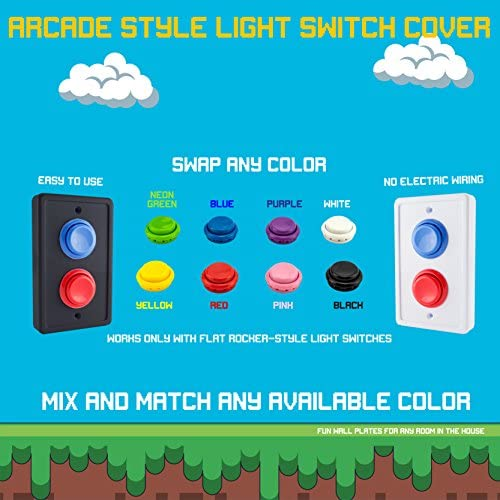 Arcade Light Switch Plate Cover Single Switch Black Red Blue 1 Gang Standard Size Rocker Wall Plate Game Room Decorator Kid Bedroom Wallplate Faceplate Replacement