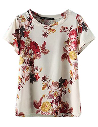 JOLLYCHIC Women's Fashion Floral Print Short Sleeve Crew Neck Casual T Shirt Size 4 US Flower