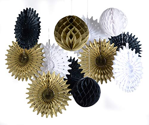 paper jazz Black White Gold Honeycomb Ball Fan for Retirement Wedding Birthday Anniversary Graduation New Year Party Decoration (Black Gold White)
