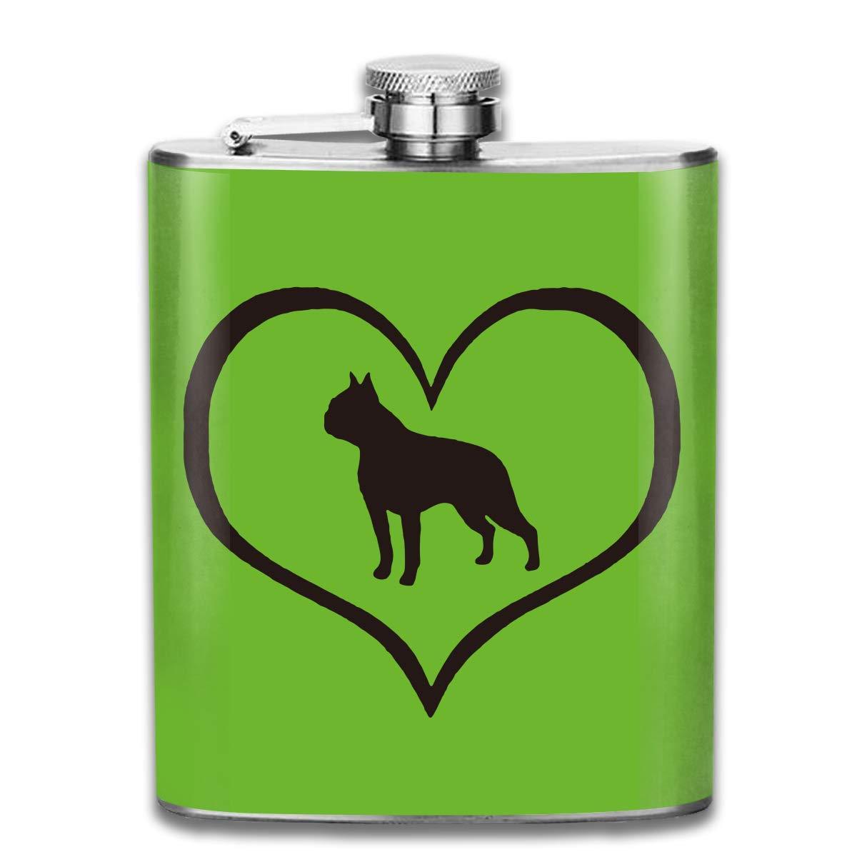 deyhfef Men and Women Thick Stainless Steel Hip Flask 7 OZ Love Boston Terrier Dog Heart Pocket Bottle for Drinking Liquor Rum