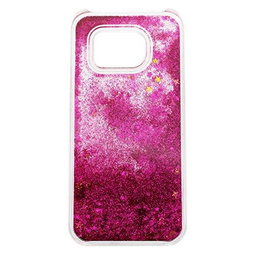 Caja de arenas movedizas de telefono celular - SODIAL(R)Caja lujosa transparente de arenas movedizas liquidas y de estrella brillante para Samsung Galaxy S7 Edge rojo de rosa