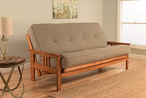 Kodiak Furniture KFMOBBLSTNLF5MD3 Monterey Futon Set with Barbados Finish, Full, Linen Stone