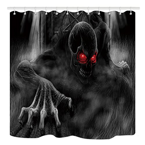 DYNH Skull Monster Shower Curtain, Scary Skeletons Escape from Dark Forest All Saints Day Halloween Image, Fabric Bathroom Decor, Bath Curtains Accessories, with Hooks, 69X70 Inches ()