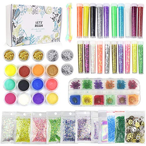 50 Pack Resin Jewelry Making Supplies Kit LET'S RESIN Art Craft Supplies for Resin, Slime, Nail Art, DIY Craft, Including Glitter Sequins,Pearl Pigment, Mylar Flakes, Dry Flowers, etc