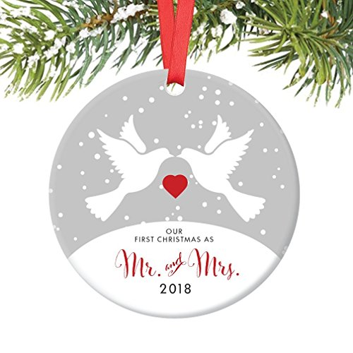 Love Birds Mr & Mrs Ornament 2018, 1st Married Christmas Porcelain Ornament, Doves First Married Christmas, 3