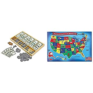 Melissa & Doug Play Money Set - Educational Toy with Paper Bills and Plastic Coins (50 of Each Denomination) and Wooden Cash Drawer for Storage & U.S.A. 51pc Floor Puzzle