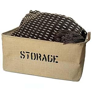 "XXLARGE Jute STORAGE Bin 22""L x 15""W x 10""H (NEW! Thicker Jute), large enough for Toy Storage - Storage Basket for organizing Baby Toys, Kids Toys, Baby Clothing, Children Books, Gift Baskets."