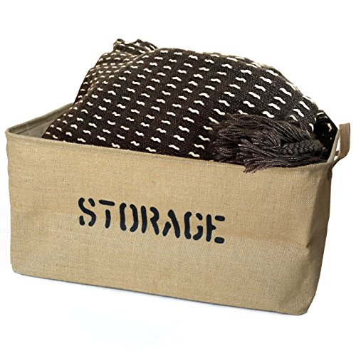 "OrganizerLogic Storage Bins - 22"" x 15"" x 10"" Toy Box - Extra Large Storage Basket for Organizing Laundry, Clothes, Blankets, Pillows, Kitchen, Baby, Kids Room, Toys Bin- Jute Storage (Playtime Gift Basket)"