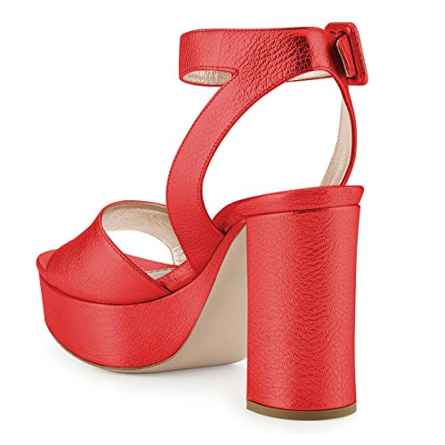 Platform 15 4 Comfortable Sandals Buckle FSJ Heel US Women Open Red Toe Chunky Ankle Shoes Size Strap UFIUH1qW