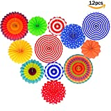 Fiesta Colorful Paper Fans Lantern Round Wheel Disc Design for Maxican Party,Event,Wedding Birthday Carnival Home Decorations (Set of 12)