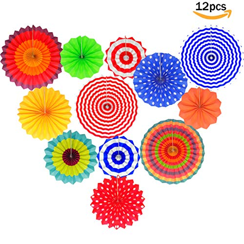 Fiesta Colorful Paper Fans Lantern Round Wheel Disc Design for Maxican Party,Event,Wedding Birthday Carnival Home Decorations (Set of 12) by clear&sky