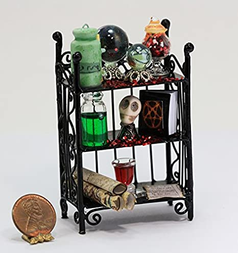 dollhouse miniature halloween sorcerers or witches filled artisan wall shelf