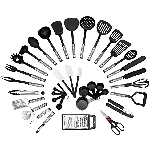NEXGADGET 38-Piece Premium Cooking Utensils Stainless Steel and Nylon Kitchen Utensils (Utensil Kit)