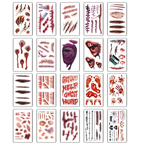 20 Pack Assorted Halloween Temporary Tattoos Face Neck Chest Sticker, Zombie Bloodstains Wound Stitch Scars Tattoos Body Art Sticker for Makeup Parties Masquerade Cosplay Prank - Trick or Treat Great