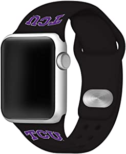 AFFINITY BANDS Texas Christian Horned Frogs Silicone Sport Watch Band Compatible with Apple Watch (38mm/40mm - Black)