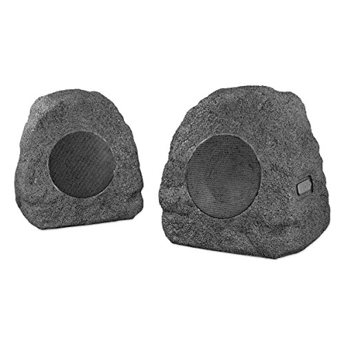 Innovative Technology Premium 5-Watt Bluetooth Outdoor Rock Speakers with A/C Adaptor and Built In Rechargeable 5200mAh Battery, Pair, Charcoal ()