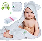 Bamboo Baby Hooded Bath Towel with Ears - Organic - Hypoallergenic - For Girls and Boys - Sized for Infant and Toddler - Laundry Bag and Baby Washcloths Included by Puritail