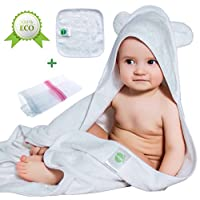 Bamboo Baby Hooded Bath Towel with Ears – Organic – Hypoallergenic – For Girl...