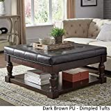 Leather Cocktail Ottoman with Shelf Inspire Q Lennon Baluster Espresso Storage Ottoman Coffee Table by Classic Dark Brown PU/Dimpled Tufts