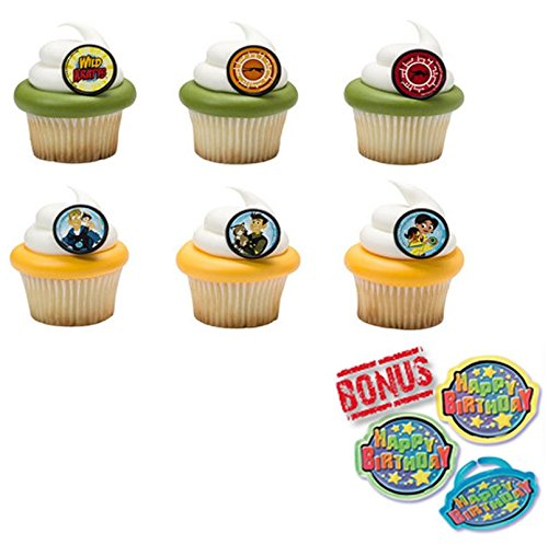 Harry Potter Hogwarts Houses Cupcake Toppers and Bonus Birthday Ring 25 pieces