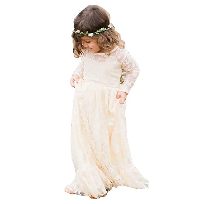 728a2bba80bd CDE Lace Boho A-line Flower Girl Dress Holy First Communion Gowns ...