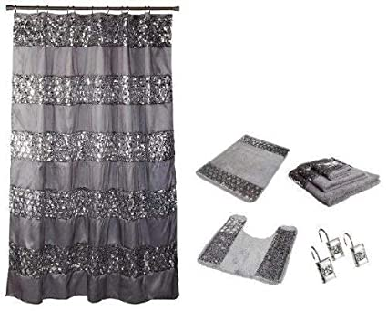 Amazon Popular Bath 7 Piece Sinatra Silver Shower Curtain