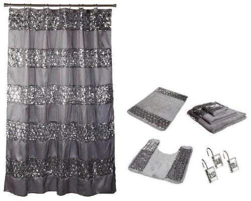 7 Piece Sinatra Silver Shower Curtain, Resin Hooks, Towels and Rugs Set