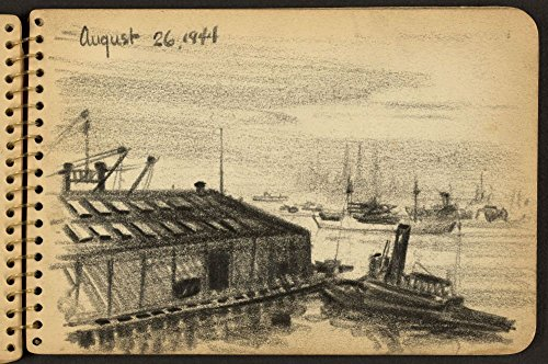 - 1944 Photo Tugboat at dock Sketch showing tugboat at covered dock in New York Harbor with ships in the distance. Location: New York