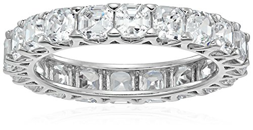 Platinum-Plated Sterling Silver Swarovski Zirconia Asscher-cut All-Around Band Ring, Size 8