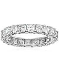 Platinum-Plated Sterling Silver Swarovski Zirconia Asscher-cut Eternity Band Ring, Size 8