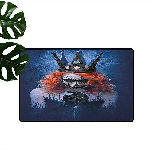 (RenteriaDecor Queen,Office Floor mats Queen of Death Scary Body Art Halloween Evil Face Bizarre Make Up Zombie 18