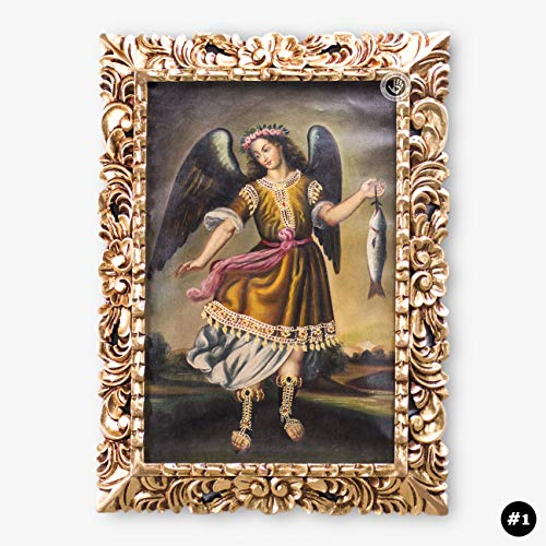 Archangel Raphael, Colonial replica Painting, Peru Folk Art Oil Painting on Canvas, Gold Hand-carved Wood Framed, Religious Paintings wall art