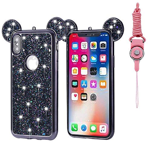 iPhone Xs Max Case, Umiko(TM) Lovely Cute Animal 3D Glitter Bling Rhinestone Disney Mickey Mouse Ears Sparkly Diamond Soft TPU Rubber Case with Strap for Apple iPhone Xs Max, Black ()