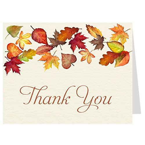 - Thank You Cards, Falling For Autumn, Off-White, Orange, Red, Green, Yellow, Brown, Burnt Orange, Fall Wedding, Autumn Wedding Shower, Fall Leaves, Set of 50 Folding Notes with Envelopes