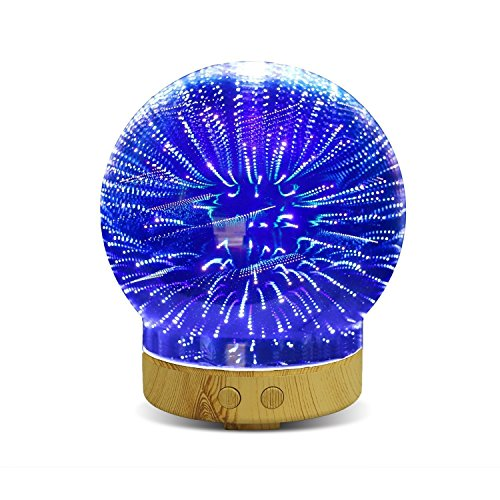 3D Glass Aromatherapy Oil Diffuser,WONFAST 100ML Essential Oil Ultrasonic Cool Mist with Starburst Led Night Light,3D Effect with 16 LED Color Lighting (Meteor Shower)