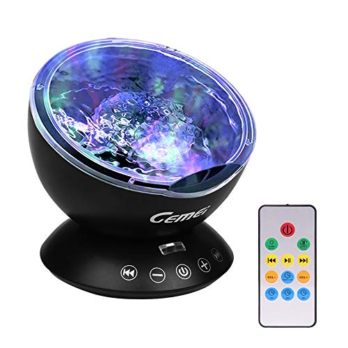 GEMEi Remote Control Ocean Wave Projector with Built-in Mini Music Player for Living Room Bedroom for Kids and Adults by Gemei