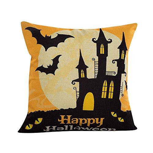 Napoo Happy Halloween Pillow Cases, 2018 Bat Pumpkin Square Throw Flax Pillow Case Cushion Cover Burlap Home Sofa Decor (C)
