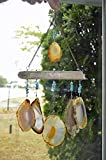 Amber Agate geode wind chime windchime sun catcher wind chime mobile Hanging from Lake Superior Driftwood hanging window decor suncatcher outdoor ornament patio