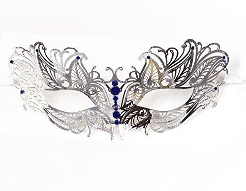 Women's Metal Filigree Laser Cut Venetian Masquerade Halloween Mask, Silver w/Blue Diamonds