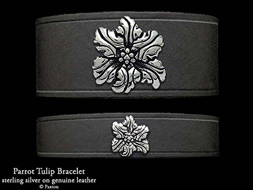 Parrot Tulip Flower Leather Bracelet Sterling Silver Flower on Leather Bracelet by (Leather Tulip)