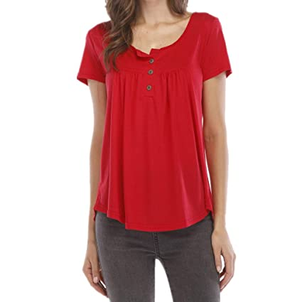00ca72bd1 Image Unavailable. Image not available for. Color: Palalibin Womens Shirts  Casual Tee Shirts V Neck Short Sleeve Button Up Loose Fits Tunic Tops