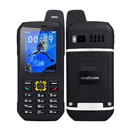 Waterproof GSM Phone, Digoor Citizen Waterphone Rugged Tough Water Resistant Phones Unlocked Waterproof Senior Classic Cell Phone 3000mAh Battery T-Mobile Power Bank Function Outdoor Phone (Black)